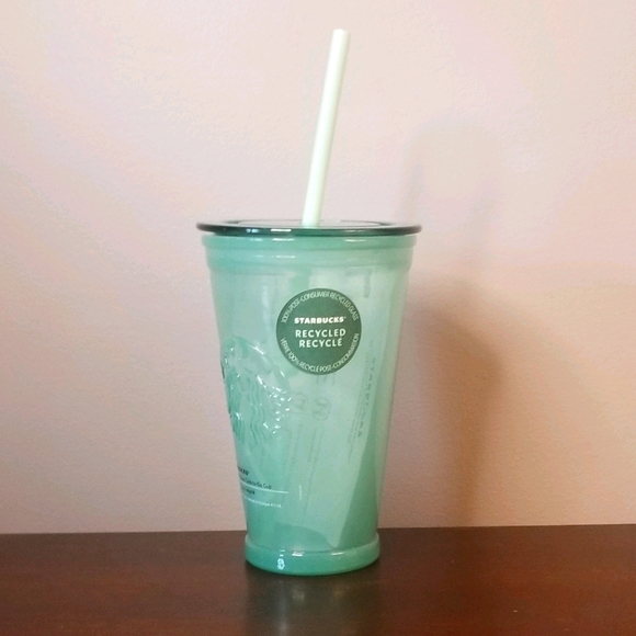 Starbucks Recycled Glass Frosted Green Tumbler